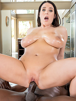 Angela White worships her neighbor's majestic black shaft