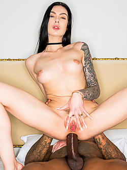 Marley Brinx takes the black stud's massive pole up her tight butt hole