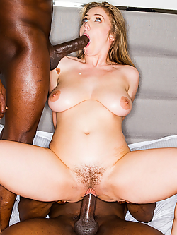 Lena Paul enjoys a double dose of big black cock
