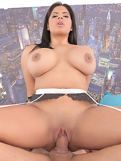 Sheila Ortega gets her bald pussy pummeled by a massive shaft