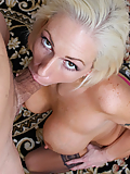 Kasey Grant gets on her knees to worship his hard cock