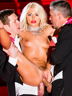 Adriana Chechik has wild sex with three studs on center stage