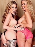 Julia Ann shares her husband's cock with Courtney Cummz