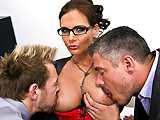 Teachers Mick and Erik are two student fuckers. What they didn't expect is to get caught by the Dean! But Dean Phoenix Marie has something else in mind, she wants to get fucked in every position by those two teachers that don't want to lose their jobs.